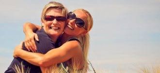 women hugging dry eye