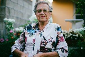 older woman with glasses